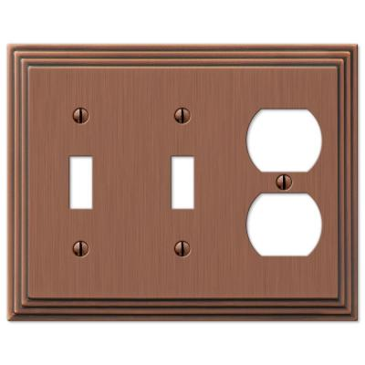 Tiered 3 Gang 2-Toggle and 1-Duplex Metal Wall Plate - Antique Copper