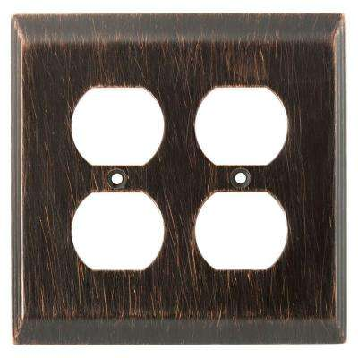 Stately Decorative Double Duplex Outlet Cover, Venetian Bronze