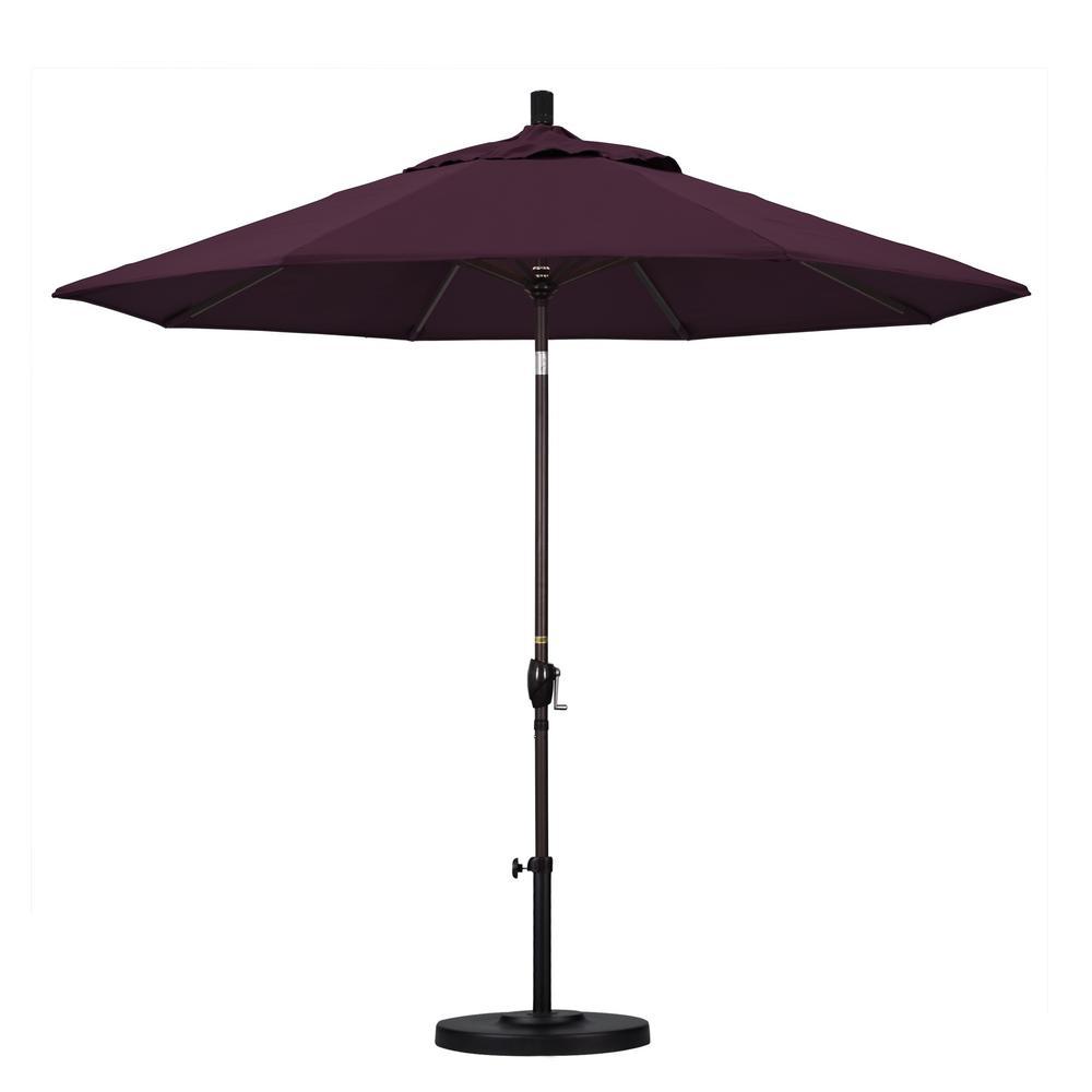 California Umbrella 9 ft. Aluminum Push Tilt Patio Umbrella in Purple Pacifica