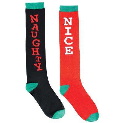 Naughty and Nice 23.75 in. Christmas Knee Socks (2-Count, 2-Pack)