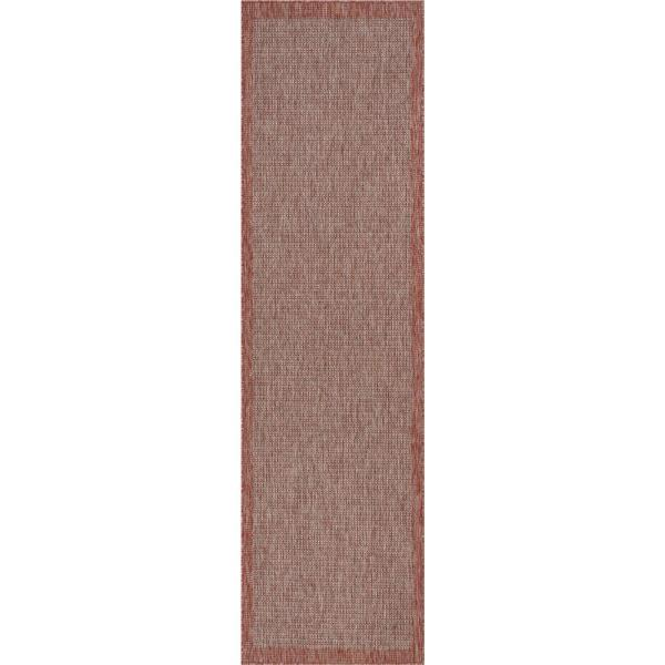 Medusa Odin Coral Solid and Striped Border Indoor/Outdoor 2 ft. 7 in. x 9 ft. 10 in. Runner Rug