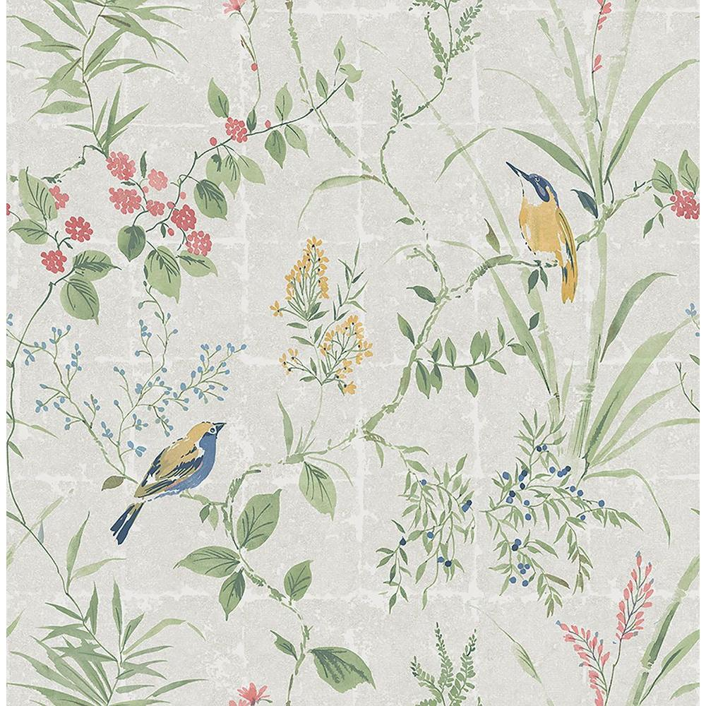 Beacon House Imperial Grey Garden Chinoiserie Wallpaper Sample