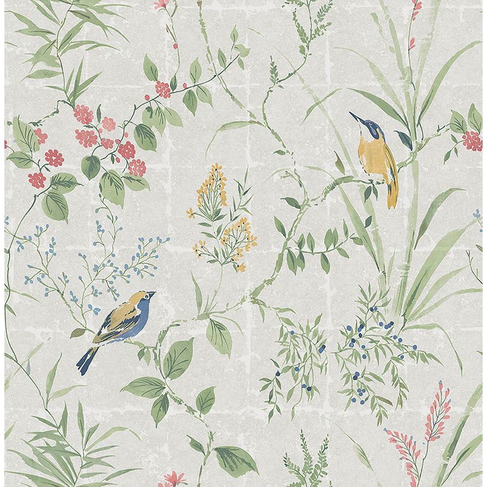 Beacon House Imperial Grey Garden Chinoiserie Wallpaper Sample 2669-21703SAM