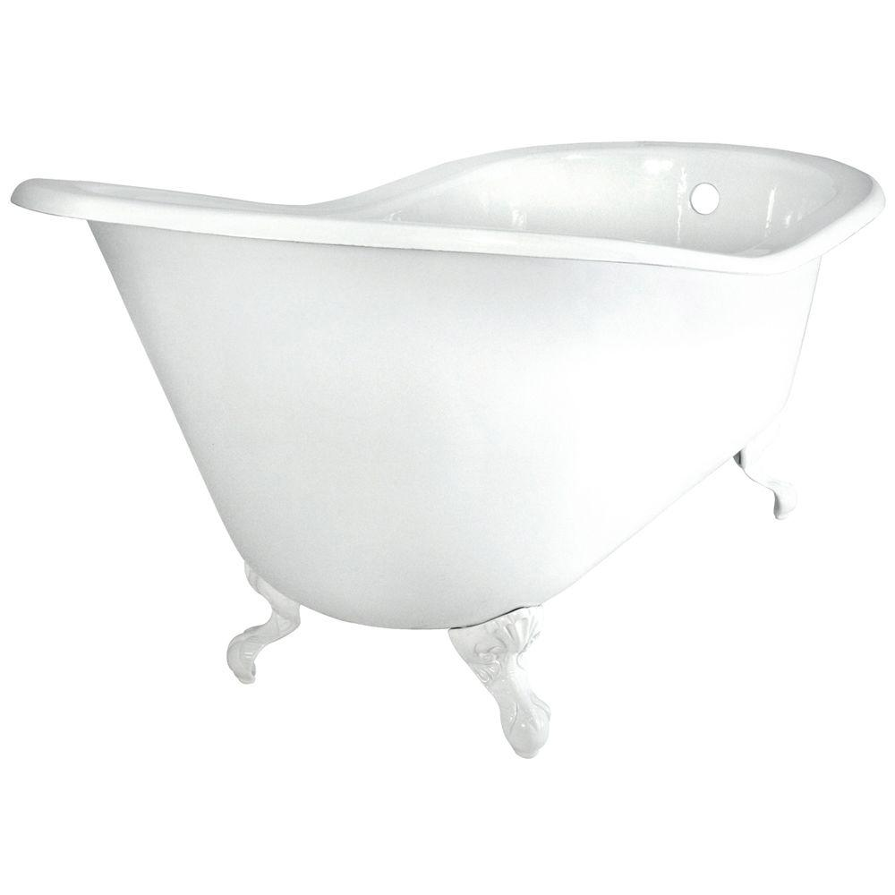 Elizabethan Classics 60 in. Slipper Cast Iron Tub Less Faucet Holes ...