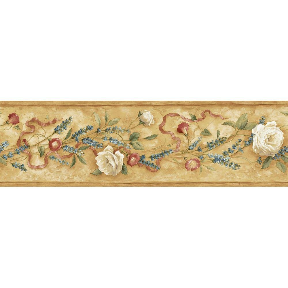 The Wallpaper Company 6.13 in. x 15 ft. Brown Earth Tone Floral Trail Border