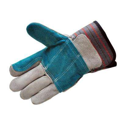 Premium Suede Double Palm and Index Finger Work Gloves with 2 and 1/2 Rubberized Safety Cuff (5-Pair Pack)