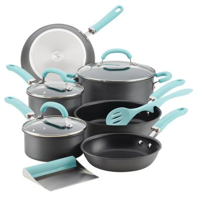 Create Delicious 11-Piece Hard-Anodized Aluminum Nonstick Cookware Set in Light Blue and Gray