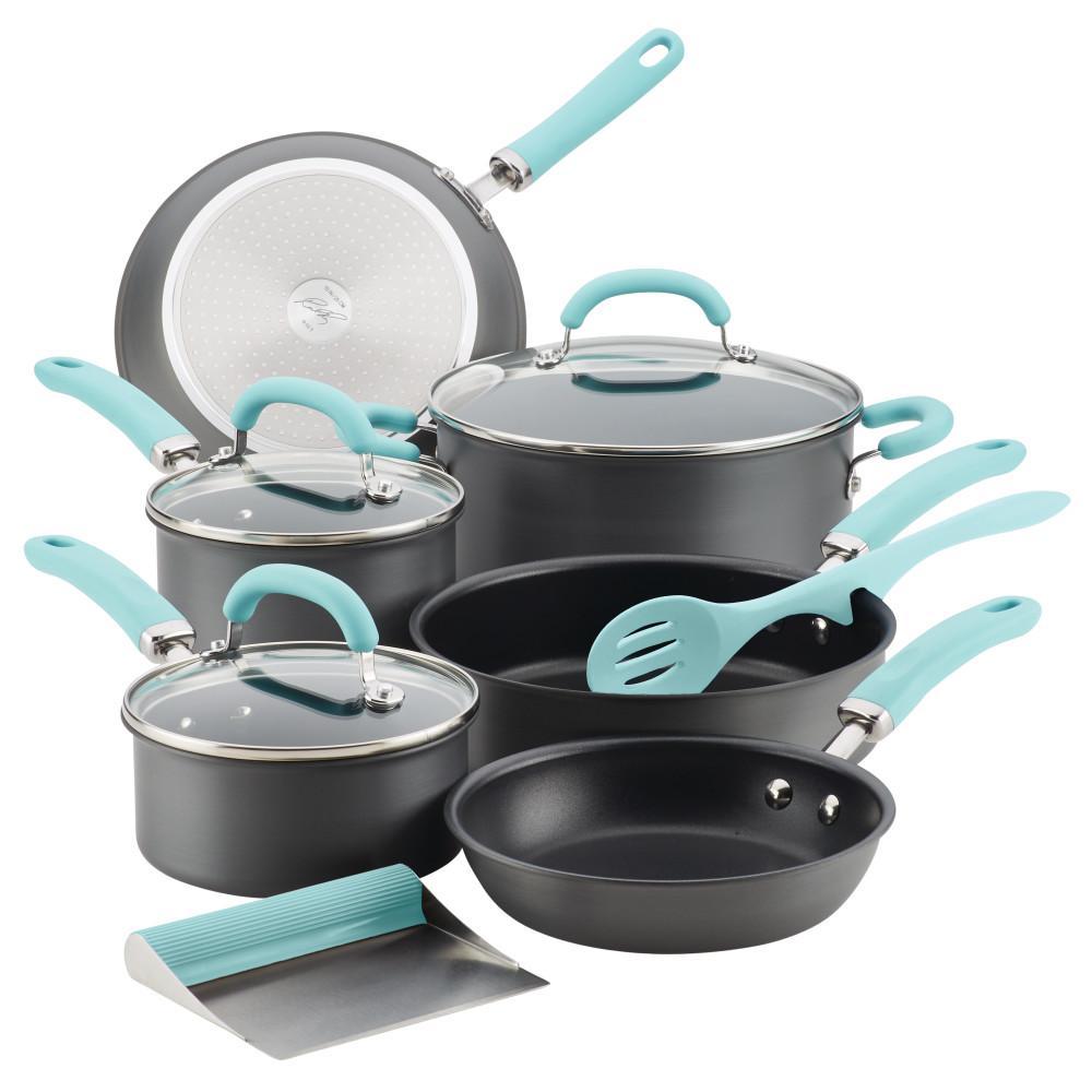 Create Delicious 11-Piece Light Blue Handles Hard-Anodized Aluminum Nonstick Cookware Set