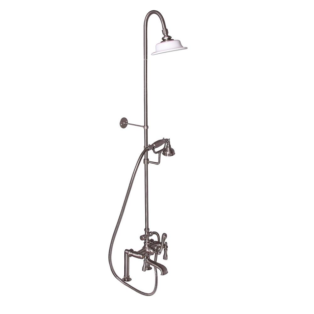 Barclay 3-Handle Rim Mounted Claw Foot Tub Faucet with Ri...