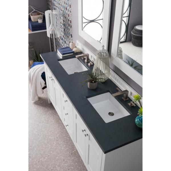 Palisades 72 in. Single Bath Vanity in Bright White with Quartz Vanity Top in Charcoal Soapstone with White Basin