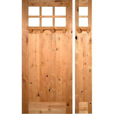 50 in. x 96 in. Craftsman Knotty Alder 1 PNL 6 Lt DS Unfinished Right-Hand Inswing Prehung Front Door/Right Sidelite
