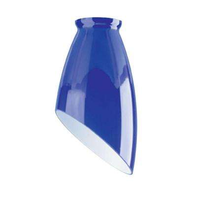 6-3/4 in. Handblown Indigo Blue Angled Design Shade with 2-1/4 in. Fitter and 3-3/4 in. Width