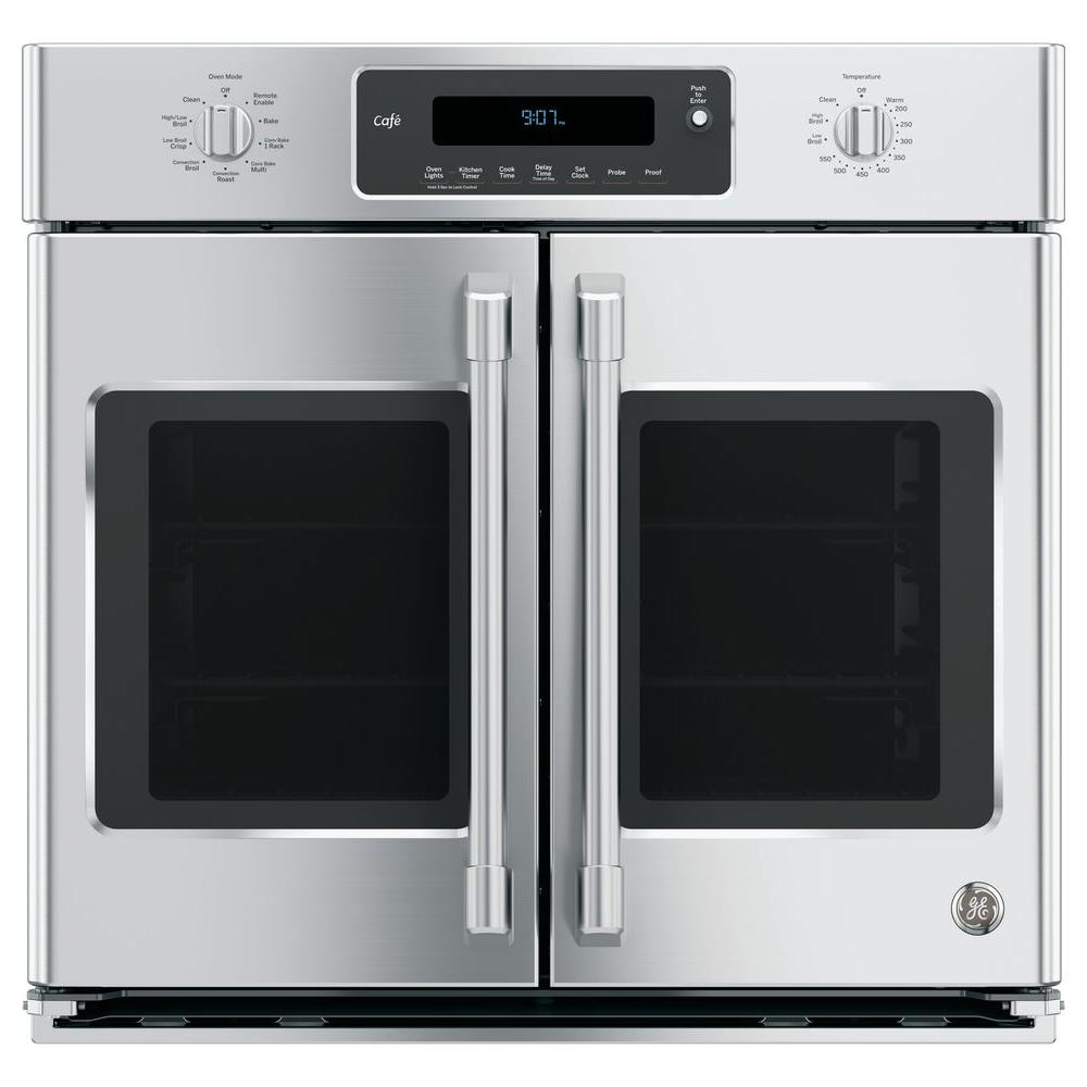 Ge 30 In Single Electric Smart French Door Wall Oven Self