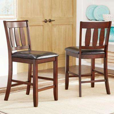 Wonderful Pierce 25 In. Rich Brown Cushioned Bar Stool