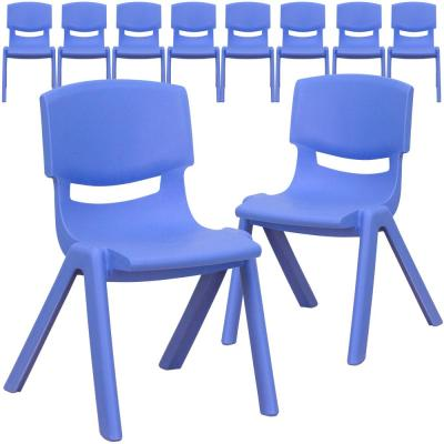 Blue Plastic Stack Chairs (Set of 10)