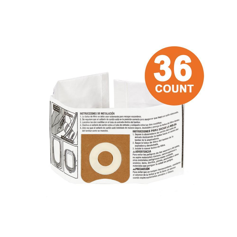 RIDGID High-Efficiency Size C Dust Bags for 3.0 Gal. to 4.5 Gal. RIDGID Wet/Dry Vacs (36-Pack)