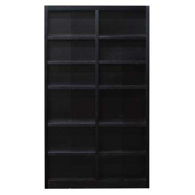 Midas Double Wide 12-Shelf Bookcase in Espresso