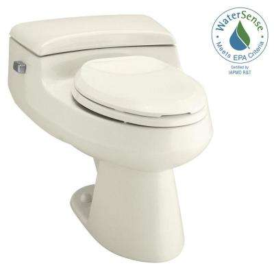 San Raphael Comfort Height 1-piece 1 GPF Single Flush Elongated Toilet in Biscuit