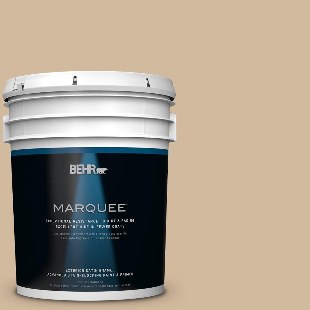 BEHR MARQUEE 5-gal. #S280-3 Practical Tan Satin Enamel Exterior Paint
