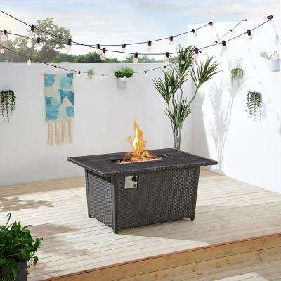 Bentley II 51.94 in. x 24.6 in. Rectangular Aluminum Propane Fire Pit Table in Dark Grey
