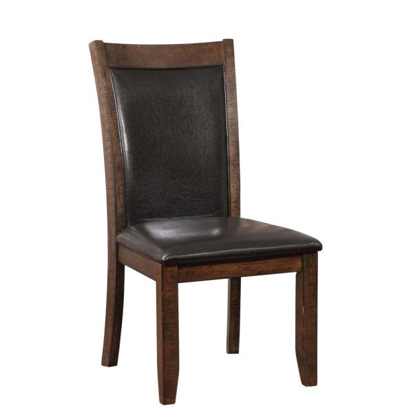 Furniture of America Morris Brown Cherry Leather Cushioned Dining Side Chair