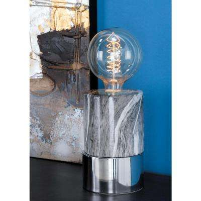 14 in. Modern Gray Ceramic Lamp with Bulb