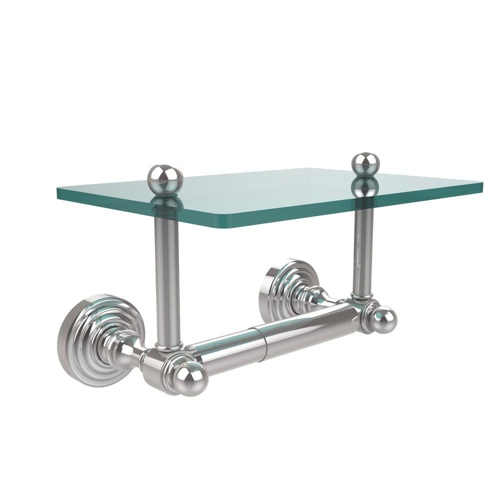 Allied Brass Waverly Place Collection Double Post Toilet Paper Holder With  Glass Shelf In Polished Chrome