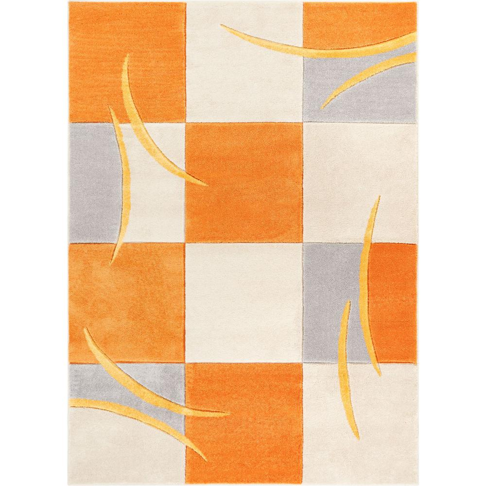 Well Woven Ruby Joy 7 ft  10 in  x 9 ft  10 in  Modern Geo Squares Orange  Area Rug