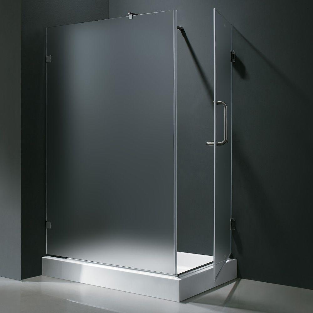 Vigo 48.125 in. x 36.125 in. x 79.25 in. Frameless Pivot Shower Enclosure in Chrome with Frosted Glass and Left Base