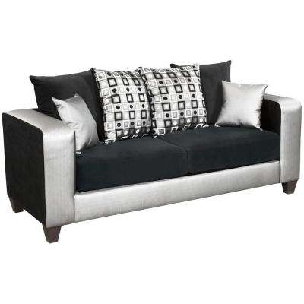 Implosion Black Velvet/Shimmer Steel Vinyl Standard Sofa