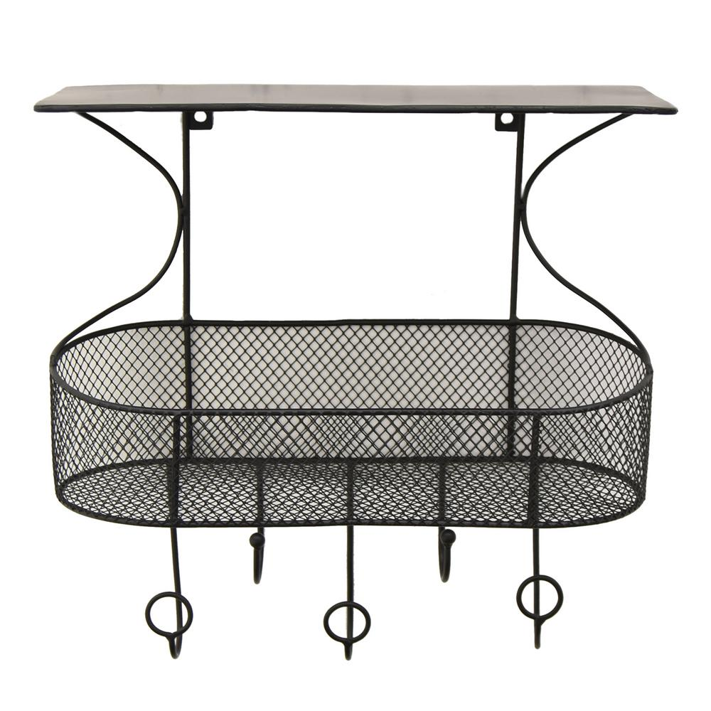 15.75 in. Metal Wall Storage Rack in Black