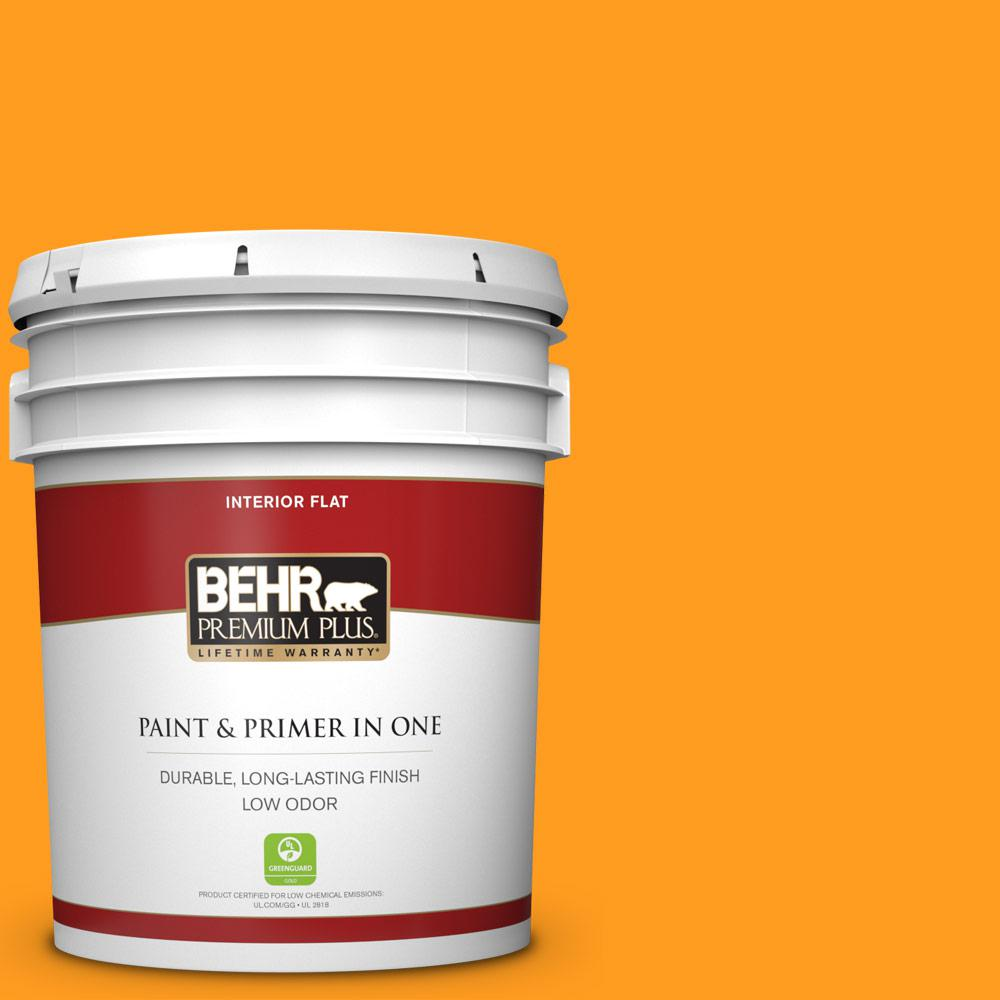 BEHR Premium Plus 5 gal  #S-G-290 Orange Peel Flat Low Odor Interior Paint  and Primer in One