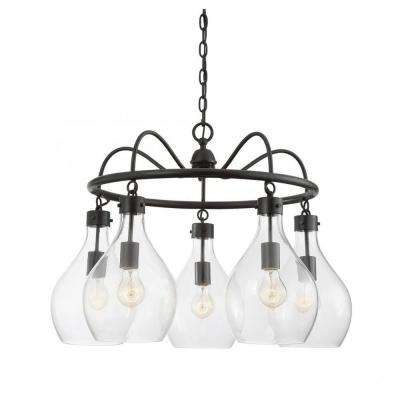 Baker 5-Light Oiled Bronze Chandelier with Clear Glass Shade