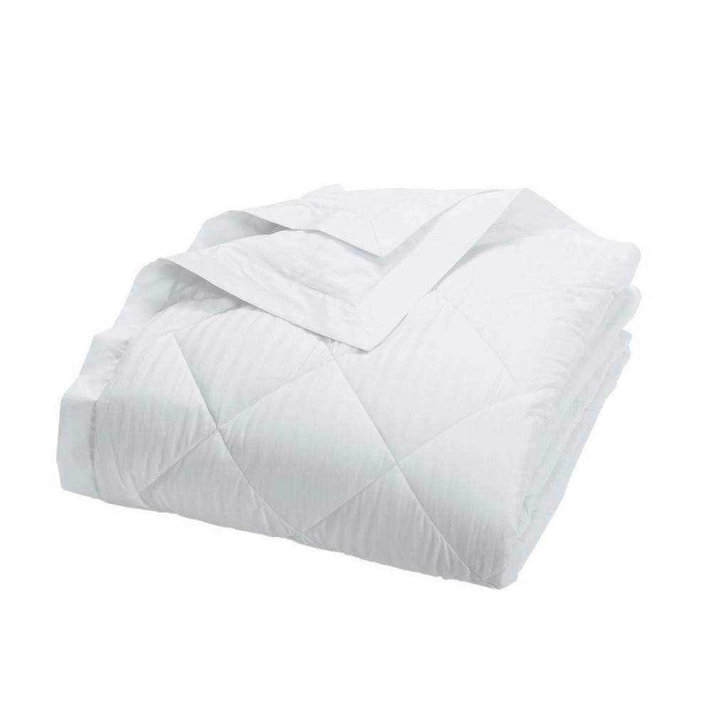 Legends Damask Stripe Down White Queen Blanket