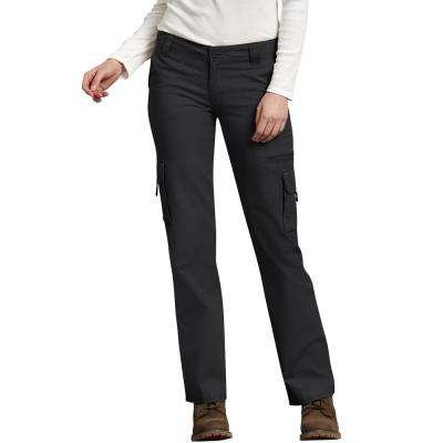 Women's Rinsed Black Relaxed Cargo Pant