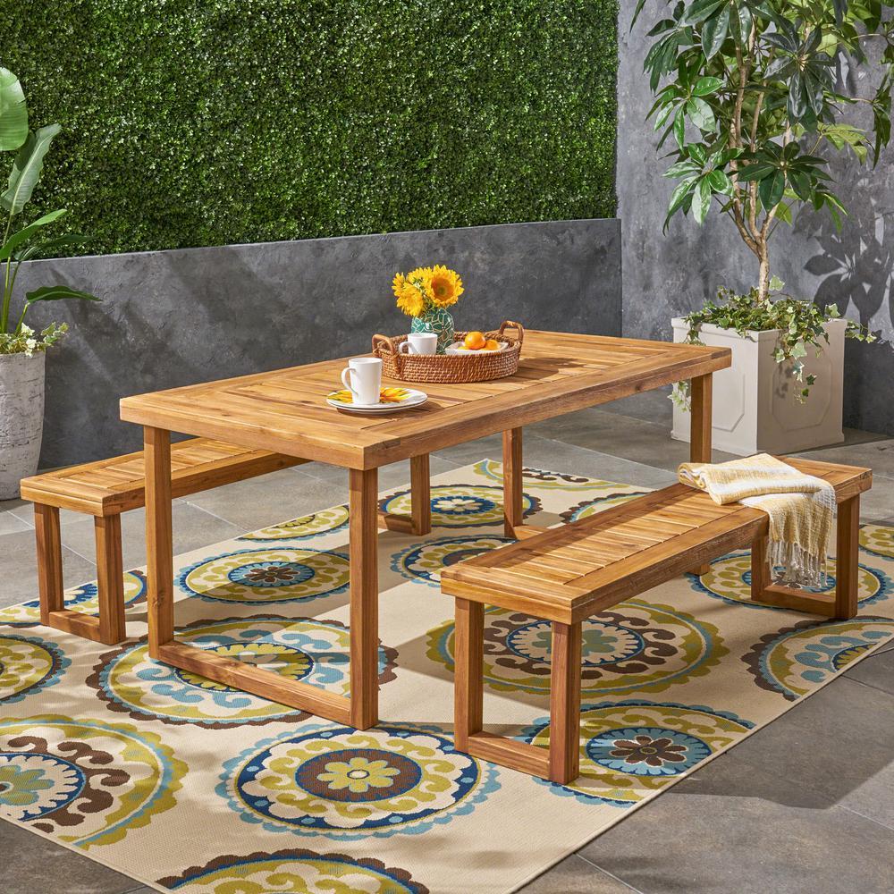 Nestor Natural 3-Piece Wood Outdoor Dining Set