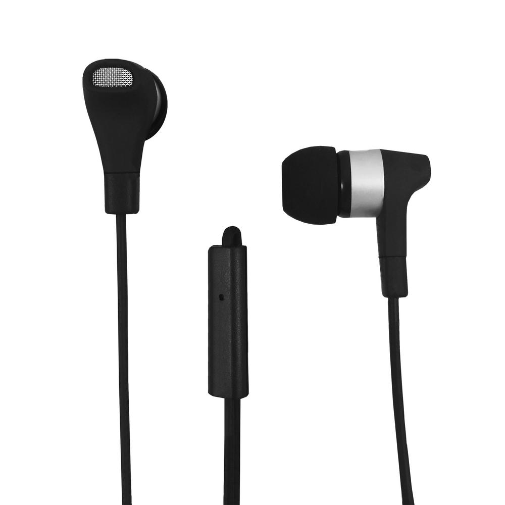 Stereo Earbuds with Microphone in Black