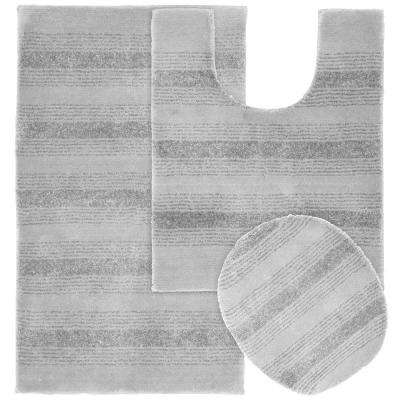 Essence Platinum Gray 21 in. x 34 in. Washable Bathroom 3-Piece Rug Set