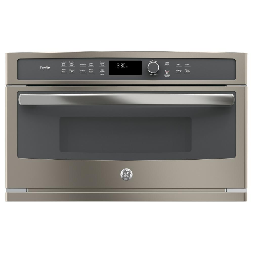 Ge Profile 30 In Electric Convection Wall Oven With Built Microwave Slate