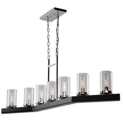 7-Light Dark Wood and Chrome Billiard Light