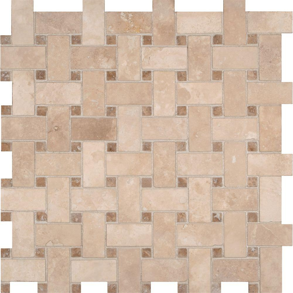 ms colisseum basketweave 12 in x 12 in x 10 mm honed travertine