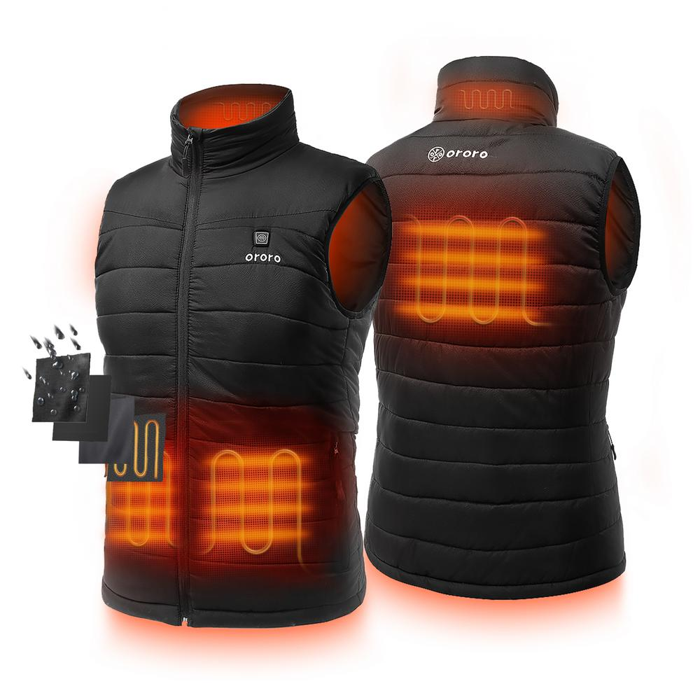 ORORO ORORO Men's Large Black 7.4-Volt Lithium-Ion Lightweight Heated Vest with (1) 5.2 Ah Battery and Charger