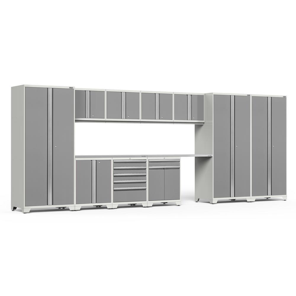 Pro 3.0 85 in. H x 220 in. W x 24 in. D 18-Gauge Welded Steel Stainless Steel Worktop Cabinet Set in Platinum (12-Piece)