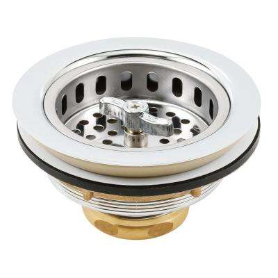 Basket Strainer Stainless Steel Basket Spin and Lock Post 3-1/2 in. to 4 in. Chrome with Putty