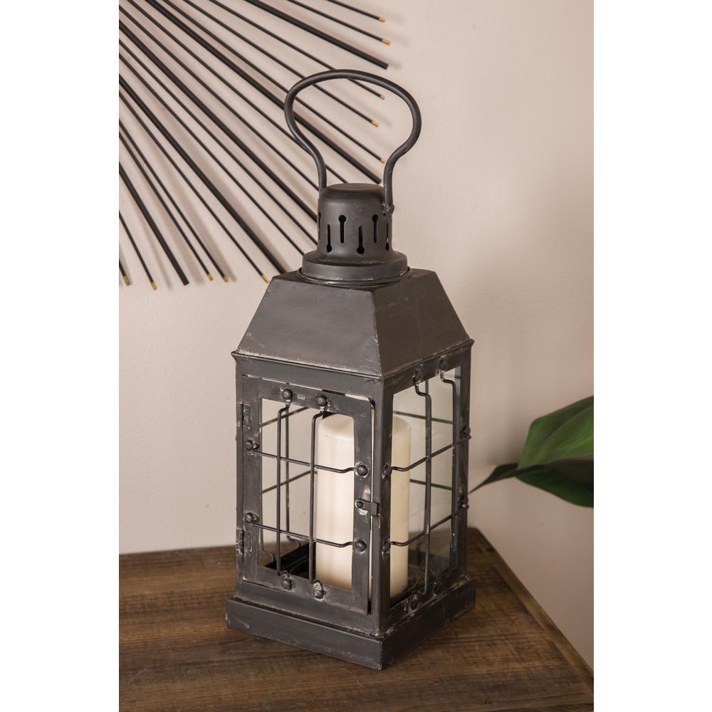 Litton Lane Black Rectangular Candle Lantern 42908