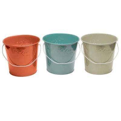 17 oz. Wax Bucket Candle Seaside Escape Ivory, Coral and Blue (3-Pack)