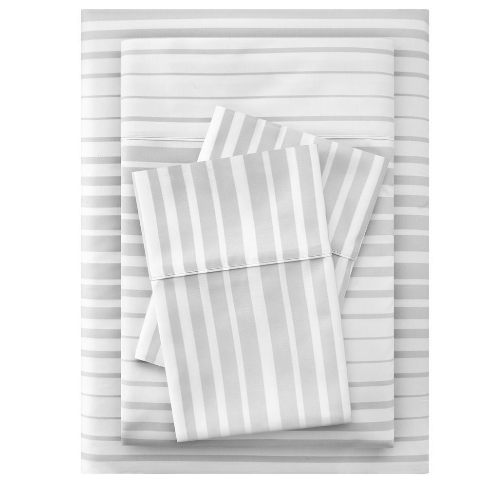 300 Thread Count Easy Care Sateen 4-Piece Queen Sheet Set in Gray Stripe