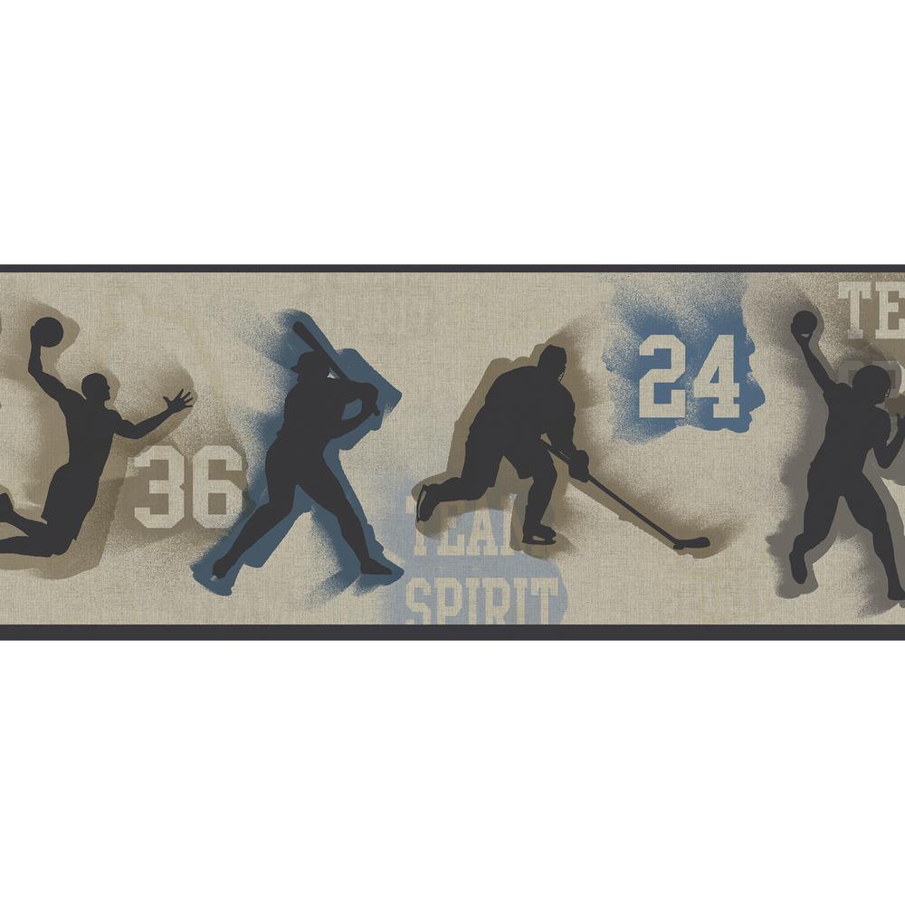 Glavine Grey Sports Figures Toss Wallpaper Border Sample