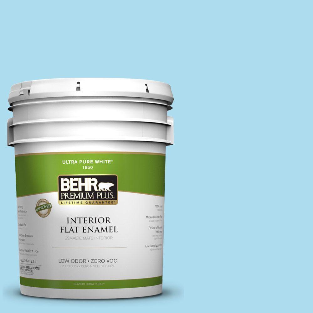 BEHR Premium Plus 5-gal. #530A-3 Frosty Glade Zero VOC Flat Enamel Interior Paint-DISCONTINUED