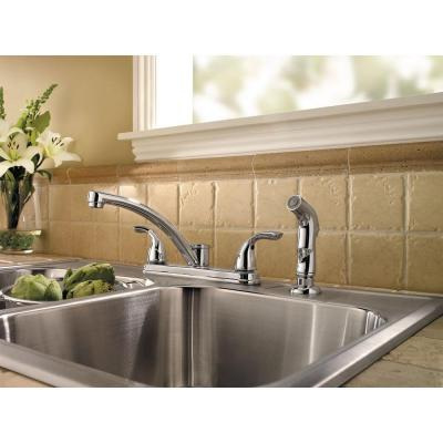 Delton 2-Handle Standard Kitchen Faucet with Side Sprayer in Polished Chrome